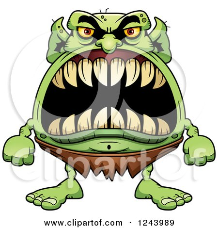 Clipart of a Goblin Monster with Big Teeth - Royalty Free Vector Illustration by Cory Thoman