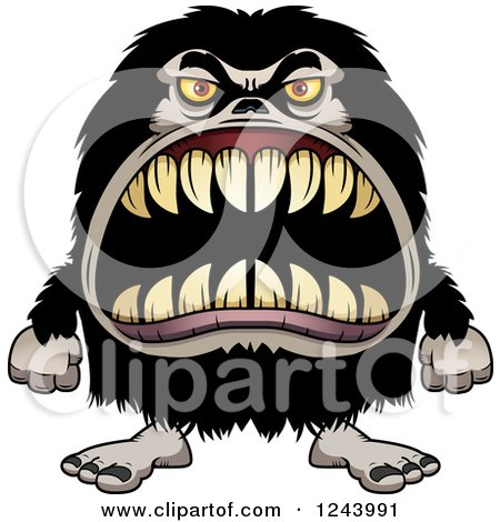 Clipart of a Hairy Beast Monster with Sharp Teeth - Royalty Free Vector Illustration by Cory Thoman