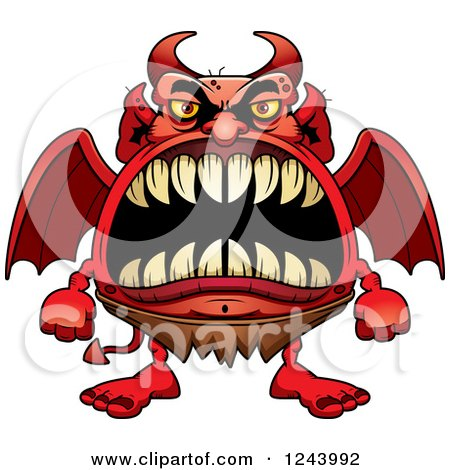 Clipart of a Winged Devil Monster with Big Teeth - Royalty Free Vector Illustration by Cory Thoman