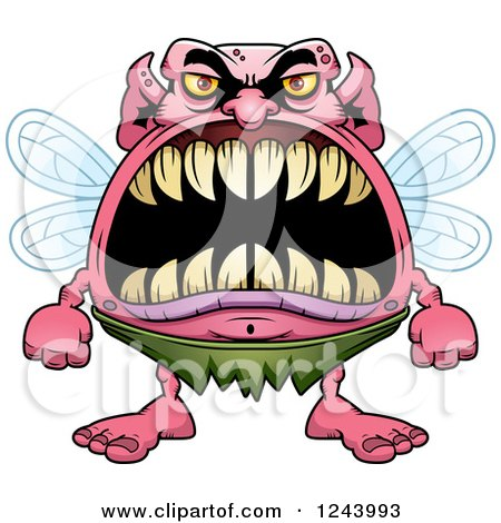 Clipart of a Monster Fairy with Big Teeth - Royalty Free Vector Illustration by Cory Thoman