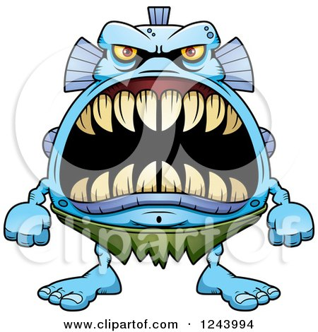 Clipart of a Fish Monster with Big Teeth - Royalty Free Vector Illustration by Cory Thoman