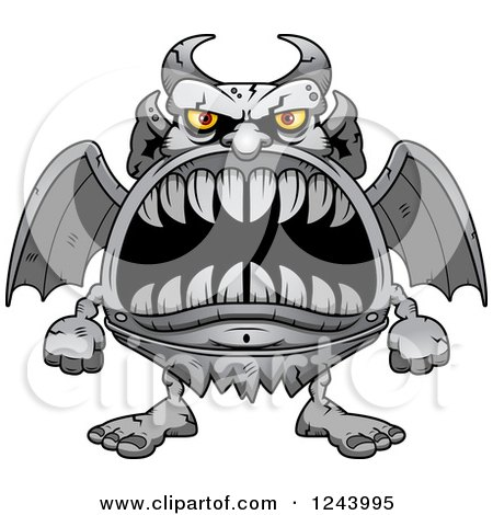 Clipart of a Gargoyle Monster with Big Teeth - Royalty Free Vector Illustration by Cory Thoman
