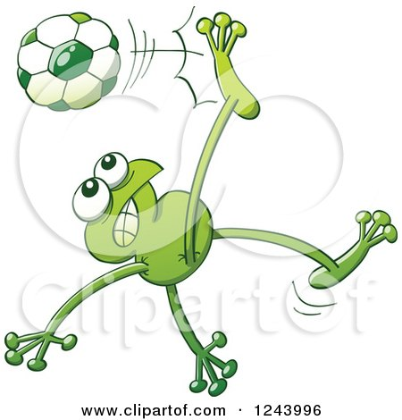 Clipart of a Soccer Football Frog Kicking - Royalty Free Vector Illustration by Zooco