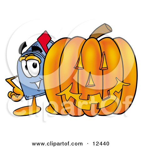 Blue Postal Mailbox Cartoon Character With a Carved Halloween Pumpkin Posters, Art Prints