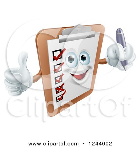 Clipart of a Happy Clipboard Holding a Pen and Thumb up - Royalty Free Vector Illustration by AtStockIllustration