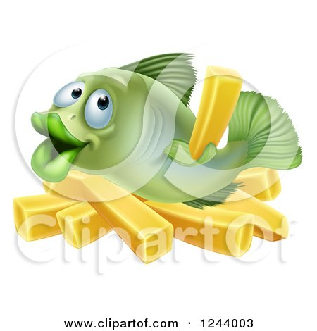 Clipart of a Happy Fish with Chips French Fries - Royalty Free Vector Illustration by AtStockIllustration