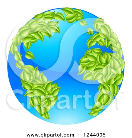 Clipart of a 3d Blue Earth Globe with Leaf Continents, Featuring the Atlantic - Royalty Free Vector Illustration by AtStockIllustration