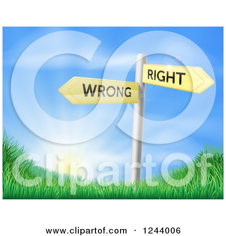 Clipart of a Directional Wrong and Right Signs over a Sunrise and Grassy Hill - Royalty Free Vector Illustration by AtStockIllustration