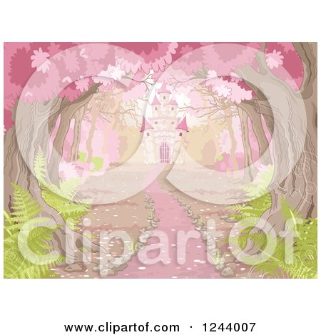 Clipart of a Path Leading to a Fairy Tale Castle Through Pink Blossoming Trees - Royalty Free Vector Illustration by Pushkin