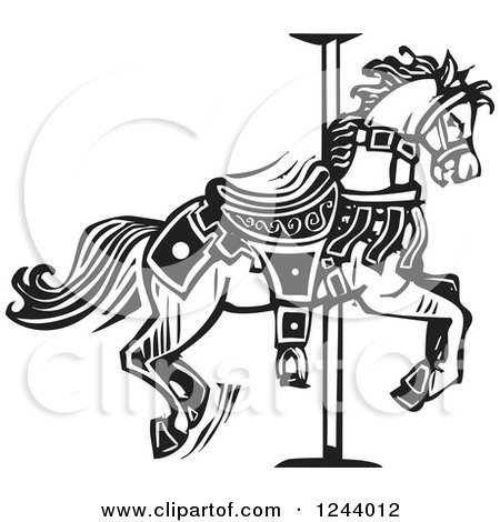 Clipart of a Black and White Woodcut Carousel Horse - Royalty Free Vector Illustration by xunantunich