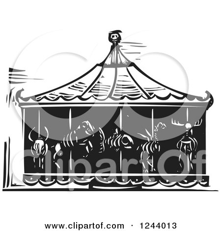 Clipart of a Black and White Woodcut Carousel of Death with Animal Skeletons - Royalty Free Vector Illustration by xunantunich