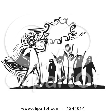 Clipart Of A Black And White Woodcut Crowd Watching A Devil Blowing Fire Royalty Free Vector Illustration