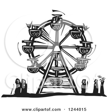 Clipart of a Black and White Woodcut Carnival Ferris Wheel with People Below - Royalty Free Vector Illustration by xunantunich