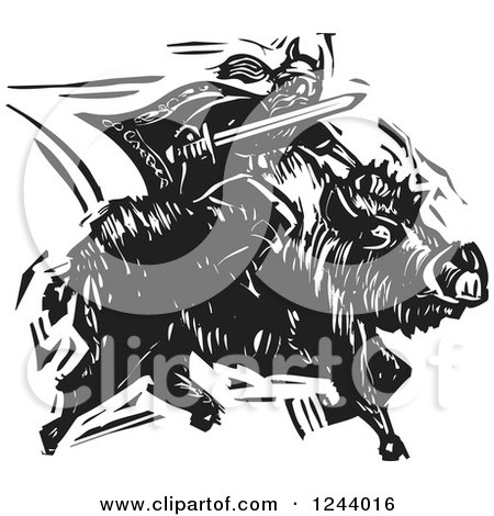 Clipart of the Norse God, Frey, Riding a Charging Boar with Sword Ready, Black and White Woodcut - Royalty Free Vector Illustration by xunantunich