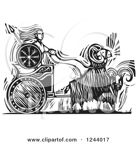 Clipart of a Black and White Woodcut of Goats Pulling the Norse Goddess Frigg in a Chariot - Royalty Free Vector Illustration by xunantunich