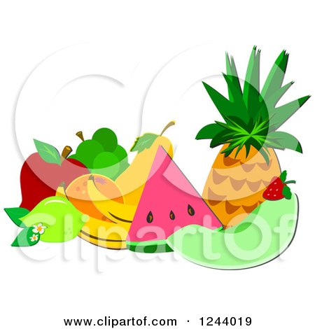 Clipart of a Still Life of Tropical Fruit - Royalty Free Vector Illustration by bpearth