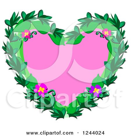 Clipart of a Pink Heart with Tropical Flowers and Leaves - Royalty Free Vector Illustration by bpearth