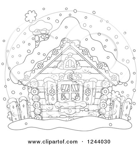 Clipart of a Black and White Log Cabin in the Snow - Royalty Free Vector Illustration by Alex Bannykh