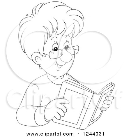 Clipart of a Black and White Happy Man Reading a Book - Royalty Free Vector Illustration by Alex Bannykh