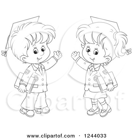 Clipart of Black and White School Boy Wearing Graduation Caps and Waving - Royalty Free Vector Illustration by Alex Bannykh