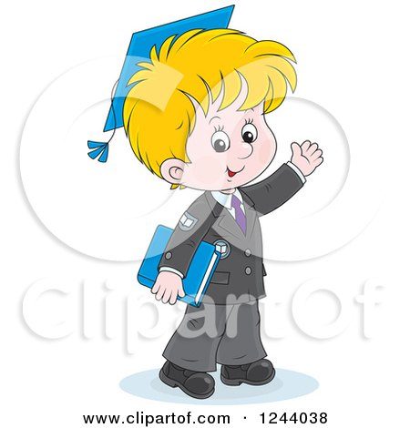 Clipart of a Blond School Boy Wearing a Graduation Cap and Waving - Royalty Free Vector Illustration by Alex Bannykh