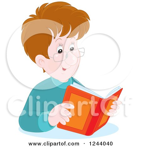Clipart of a Happy Brunette Caucasian Man Reading a Book - Royalty Free Vector Illustration by Alex Bannykh