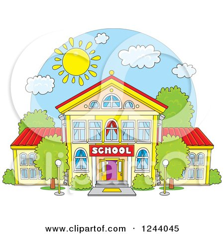 Clipart Of A School Building Facade On A Sunny Day Royalty Free Vector Illustration