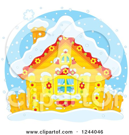 Clipart of a Cute Log Cabin in the Snow - Royalty Free Vector Illustration by Alex Bannykh