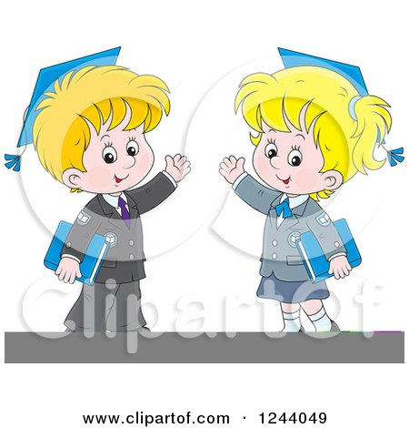 Clipart of a Blond School Boy and Girl Wearing Graduation Caps and Waving - Royalty Free Vector Illustration by Alex Bannykh