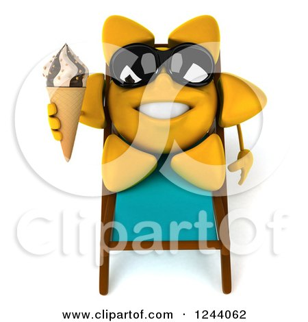 Clipart of a 3d Sun Wearing Shades and Holding an Ice Cream Cone on a Chaise Lounge - Royalty Free Illustration by Julos