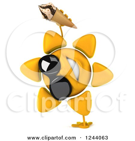 Clipart of a 3d Sun Wearing Shades and Cartwheeling with an Ice Cream Cone - Royalty Free Illustration by Julos