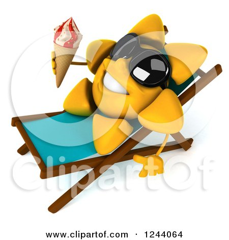 Clipart of a 3d Sun Wearing Shades and Holding an Ice Cream Cone on a Chaise Lounge 2 - Royalty Free Illustration by Julos