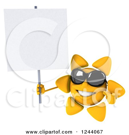 Clipart of a 3d Sun Wearing Shades and Holding a Blank Sign - Royalty Free Illustration by Julos
