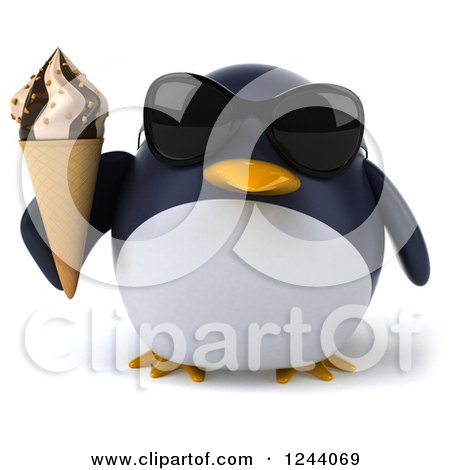 Clipart of a 3d Penguin Wearing Sunglasses and Holding an Ice Cream Cone - Royalty Free Illustration by Julos