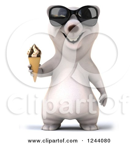 Clipart of a 3d Polar Bear in Sunglasses, Holding an Ice Cream Cone - Royalty Free Illustration by Julos