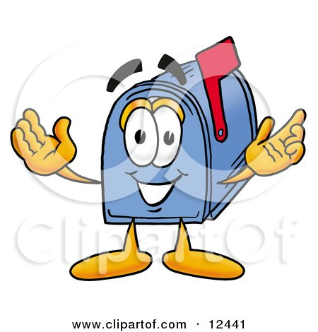 Clipart Picture of a Blue Postal Mailbox Cartoon Character With Welcoming Open Arms by Toons4Biz