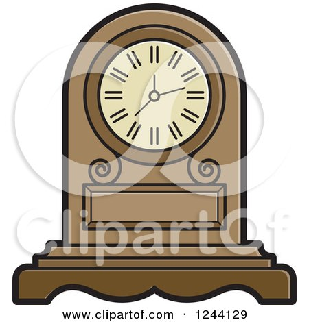 Clipart of a Mantle Clock - Royalty Free Vector Illustration by Lal Perera