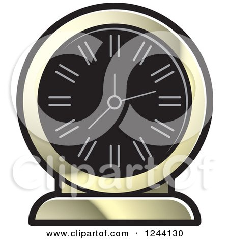 Clipart of a Black and Gold Mantle Clock - Royalty Free Vector Illustration by Lal Perera