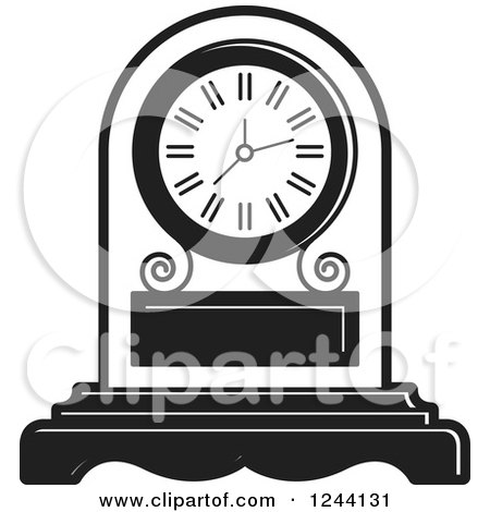 Clipart of a Black and White Mantle Clock 3 - Royalty Free Vector Illustration by Lal Perera