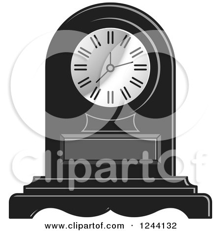 Clipart of a Black and White Mantle Clock 4 - Royalty Free Vector Illustration by Lal Perera