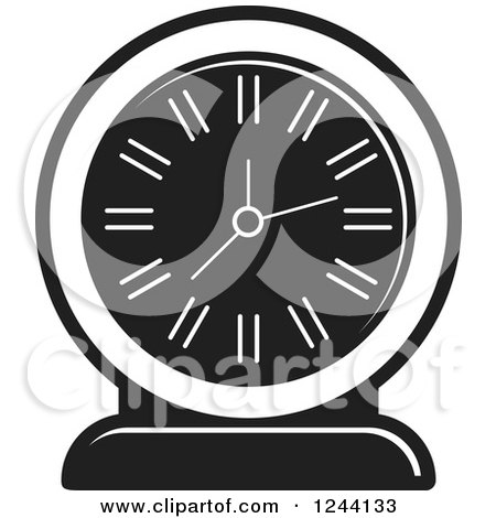 Clipart of a Black and White Mantle Clock 5 - Royalty Free Vector Illustration by Lal Perera