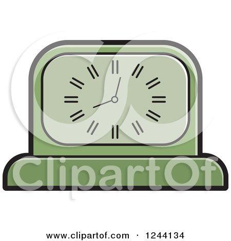 Clipart of a Green Mantle Clock - Royalty Free Vector Illustration by Lal Perera