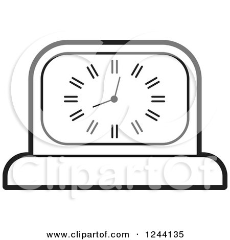 Clipart of a Black and White Mantle Clock - Royalty Free Vector Illustration by Lal Perera