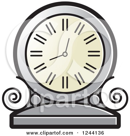 Clipart of a Silver Mantle Clock - Royalty Free Vector Illustration by Lal Perera