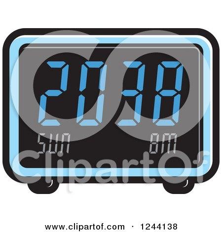 Clipart of a Blue Digital Alarm Clock - Royalty Free Vector Illustration by Lal Perera