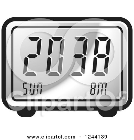 Clipart of a Silver Digital Alarm Clock - Royalty Free Vector Illustration by Lal Perera