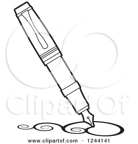 Clipart Of A Vintage Black And White Fountain Pen Nib Drawing Swirls