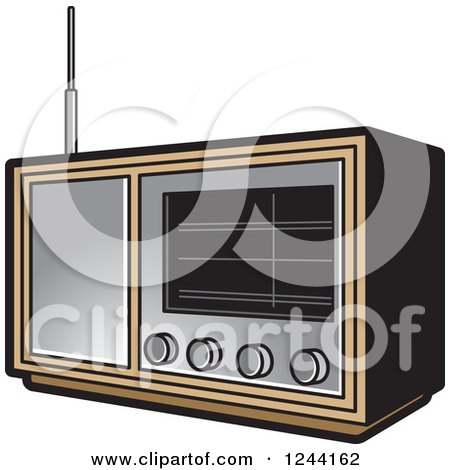 Clipart of a Black and White Retro Radio - Royalty Free Vector ...