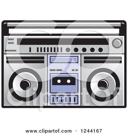Clipart of a Cassette Tape in a Boom Box - Royalty Free Vector Illustration by Lal Perera