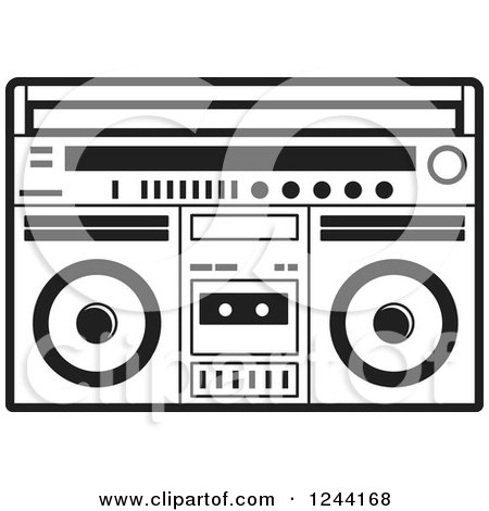 Clipart of a Black and White Cassette Tape in a Boom Box - Royalty Free Vector Illustration by Lal Perera